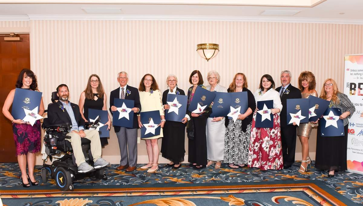 The Shore Publishing 7th Annual Beacon Awards  took place at the Water's Edge Resort and Spa, Westbrook. The 2019 Beacon Award Winners: Nikki Travaglino, Brian Savo, Renee Pantani, Bruce McIntyre, Kim Olson, Wendy Mawhinney, Cary Hull Sonja Gibbs, Tina Phelan, Amanda Gabriele, Ken Engelman, Debra Carcio-Mals Diane Pappacoda and not present, Kristin Song, and Susan Smith. Photo by Kelley Fryer/elan