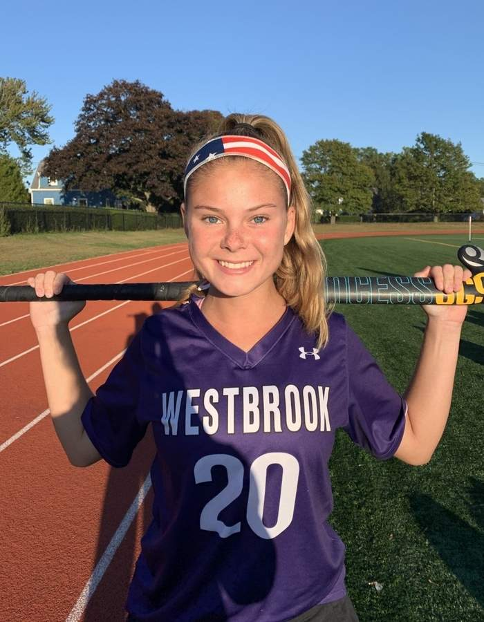Senior captain Kendall Orlowski is leading a staunch defense for the Westbrook field hockey squad while playing the sweeper position for the Knights.  Photo courtesy of Kendall Orlowski
