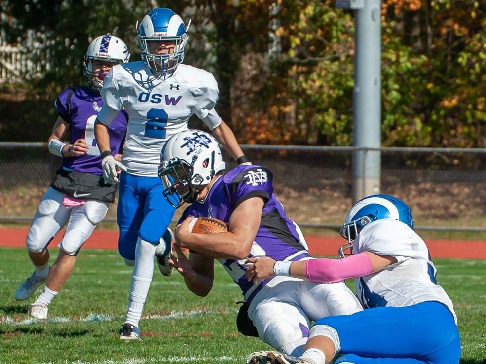 Junior Tyler DiNapoli was all over the field in North Branford's 35-28 home victory over Valley Regional-Old Lyme. DiNapoli totaled 169 yards of offense and scored three touchdowns in the win. File photo by Kelley Fryer/The Sound