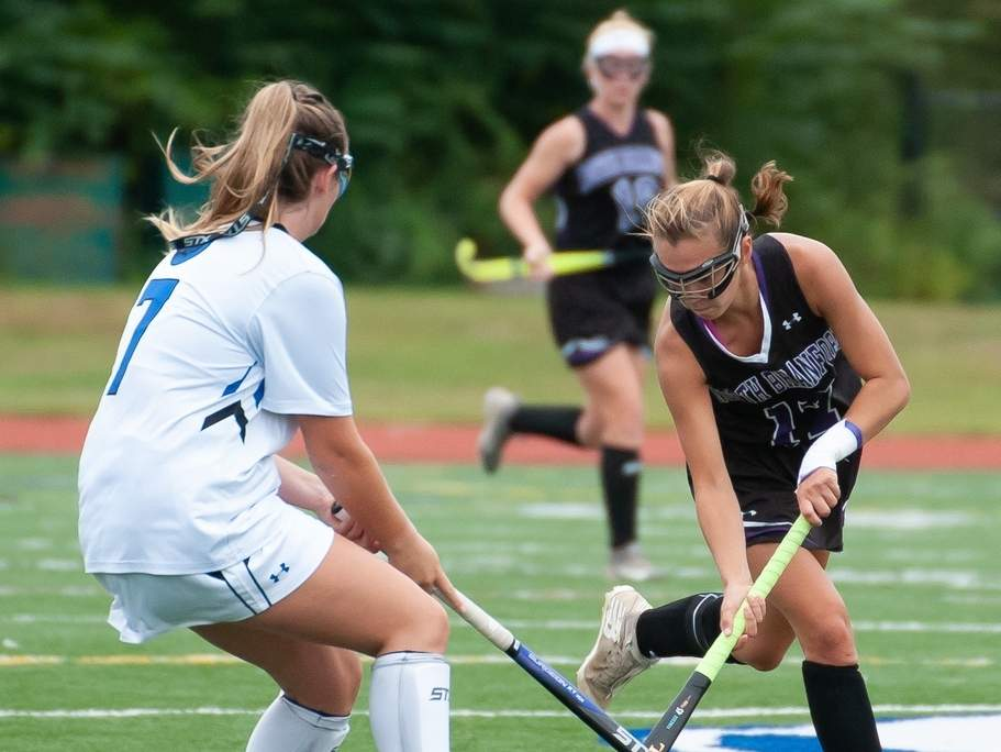 Senior Ali Barrett (right) dished out four assists when the North Branford field hockey squad earned a 6-2 win over Haddam-Killingworth in its Senior Night contest on Oct. 26. File photo by Kelley Fryer/The Sound