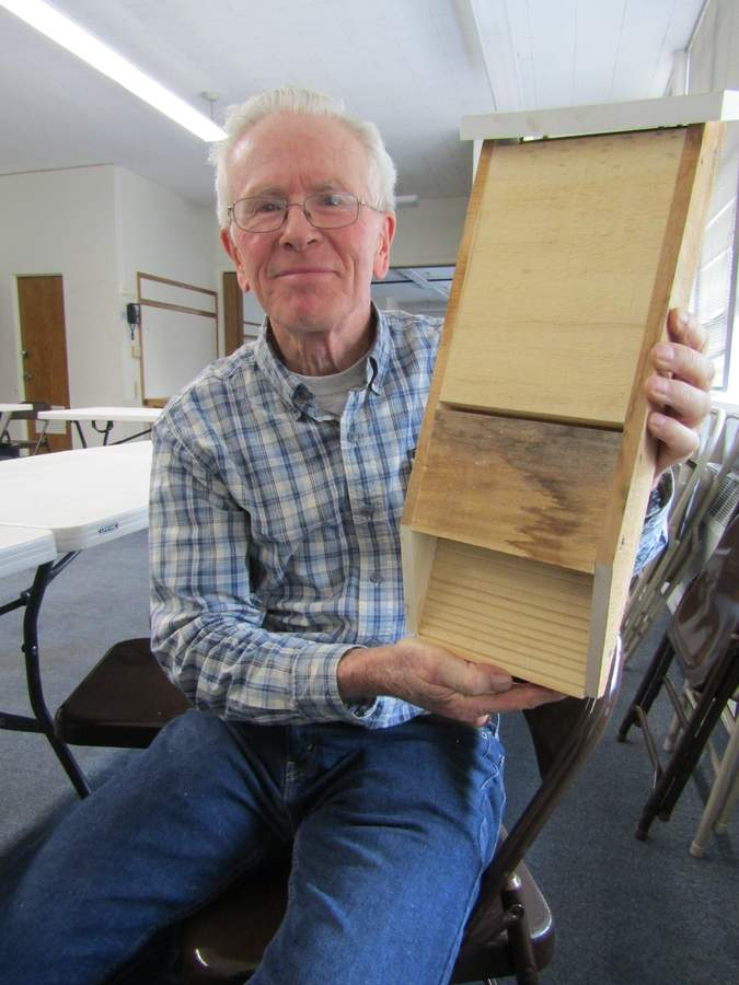 Walter Brockett's hand-crafted bat box was a big hit at a recent Daytime Gardeners meeting. Photo by Elizabeth Reinhart/The Courier