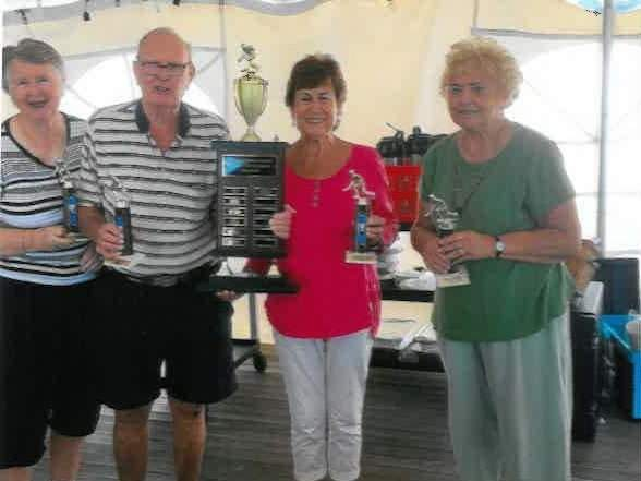 The team of Ann Sweeney, Bill Sweeney, Donna Dougherty, and Ellie DiCicco won the title for the Madison Senior Center's bocce league for the fourth-straight year. Photo courtesy of Ellie DiCicco
