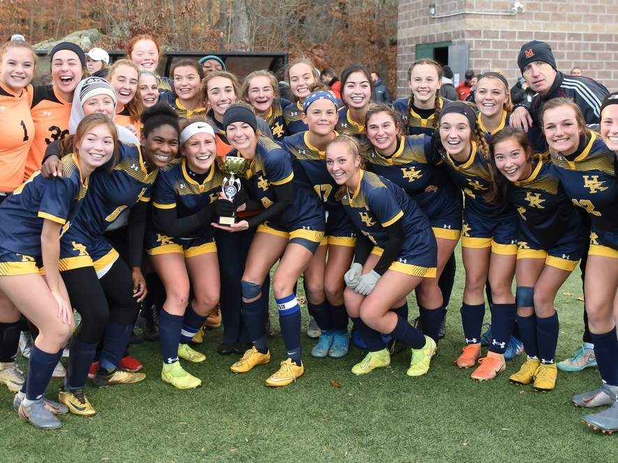 The Haddam-Killingworth girls' soccer squad captured the Shoreline Conference title by earning a 3-2 win versus Valley Regional in the tournament final at the Indian River Complex on Nov. 8. Photo by Kelley Fryer/The Source