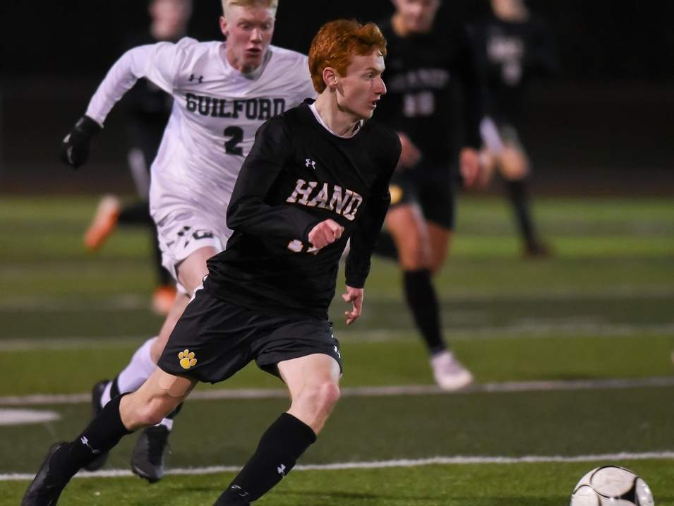 Jason Wallack scored the game-winning goal when the Hand boys' soccer squad earned a 1-0 overtime win versus Shelton in the SCC semifinals. The Tigers went on to take a 1-0 loss against Guilford in the championship game of the tournament on Nov. 6.  Photo by Kelley Fryer/The Source
