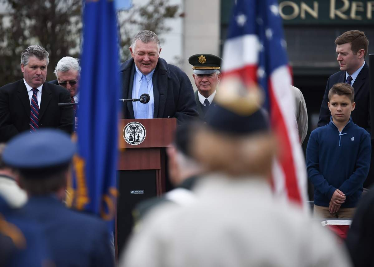 Branford held the annual Veterans Day Parade Sunday afternoon, with a 1 p.m. Veterans Day Ceremony on the Town Green before the the parade started on Main St, at 1:30pm. Photo by Kelley Fryer/The Sound