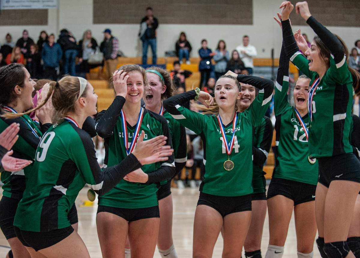 November 9th, 2019 SCC Girls Volleyball Final Guilford vs Shelton. Guilford won the championship.  No #7, Emma Appleman reacts as she learns she is game MVP.  Photo by Susan Lambert/The Courier