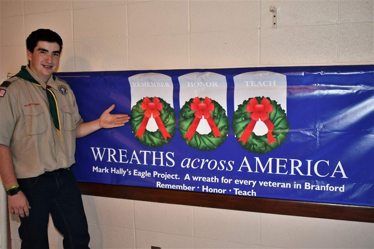 On Saturday, Dec. 14, which is Wreaths Across America Day, Mark Hally will head up an effort to place wreaths on graves of Branford's veterans. The 15-year-old Branford resident is organizing the mammoth effort as his Eagle Scout project. Photo by Bill O'Brien