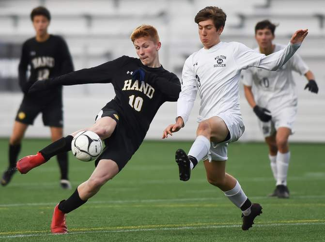 Junior Scott Testori netted two goals and assisted teammate Jack Green on the go-ahead score when the Hand boys' soccer squad defeated Wilton to claim the Class L crown for the fourth year in a row. Photo by Kelley Fryer/The Source