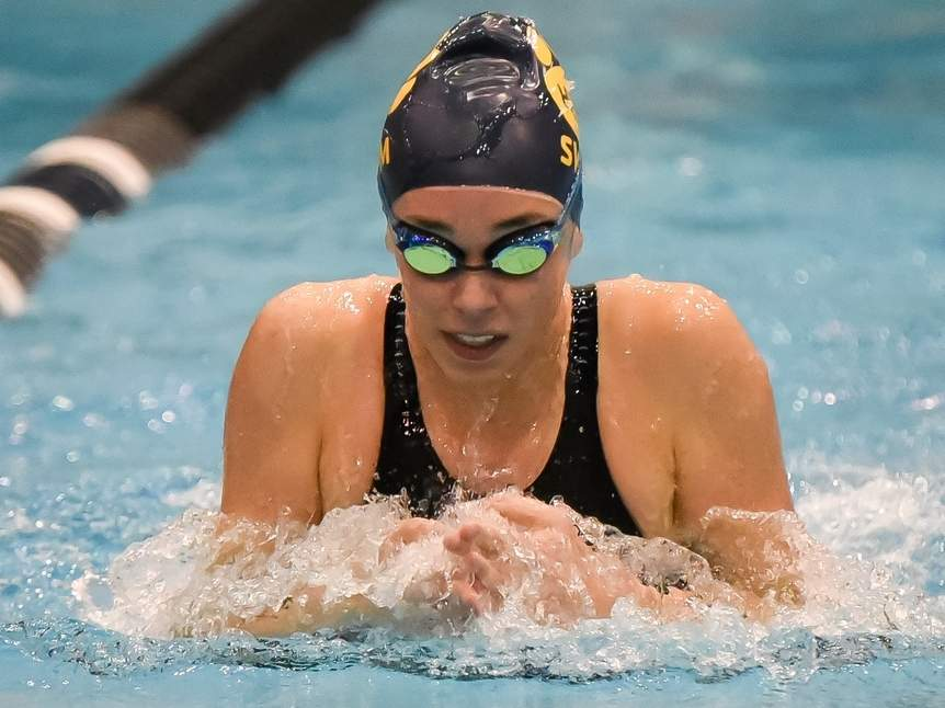 Junior Nina Lamb placed seventh in the 100 breaststroke while representing the H-K girls' swim team at the Class S State Championship on Nov. 19. Photo by Kelley Fryer/The Source