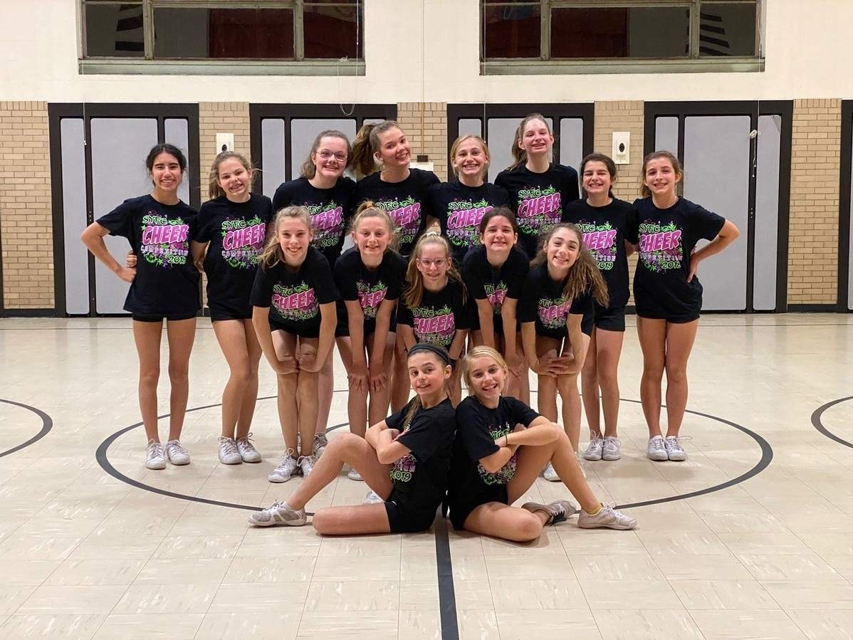 The Madison Youth Cheer team is competing at the American Youth Cheer Nationals this week. Pictured from the Tigers are (back) Gianna Foligno, Juliana Jorens, Allison Mulhern, Sophie Elder, Mia Scott, Lucy Cummings, Julianna Picard, and Abby Kustra; (middle) Katelyn Zagami, Lilyana Signore, Ashley Fiorella, Hailey Yahara, and Cristina Case; and (front) Alessandra Picard and Neala O'Dea. Photo courtesy of Michelle O'Dea