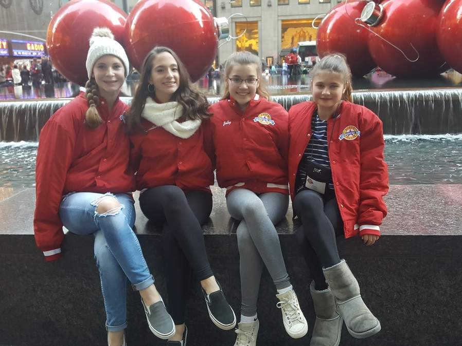 Astra Studio of Dance and Performing Arts sent four dancers to perform in the Macy's Thanksgiving Day Parade. Pictured are Mackenzie True (Westbrook), Samantha Sharpe (Westbrook), Jillian Pernal (Old Saybrook), and Emma Elgart (Old Saybrook).  Photo courtesy of Astra Studio of Dance and Performing Arts