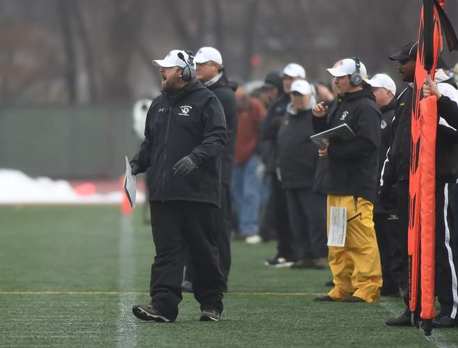 Head Coach David Mastroianni was happy to be on the sidelines for the first time in a couple of months when the Hand football team went up against St. Joseph with the state title on the line. Photo by Kelley Fryer/The Source