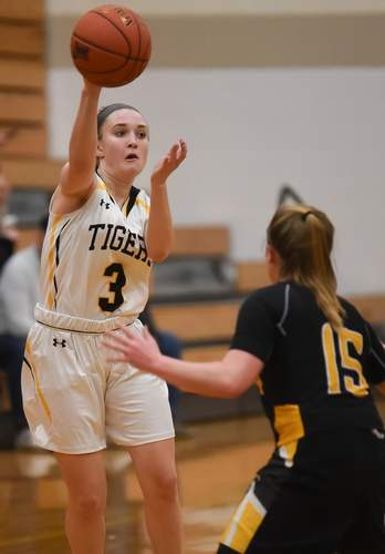 Junior Hadley Houghton and the Tigers improved to 6-2 by earning wins versus Lyman Hall and Amity in two recent matchups. Photo by Kelley Fryer/The Source