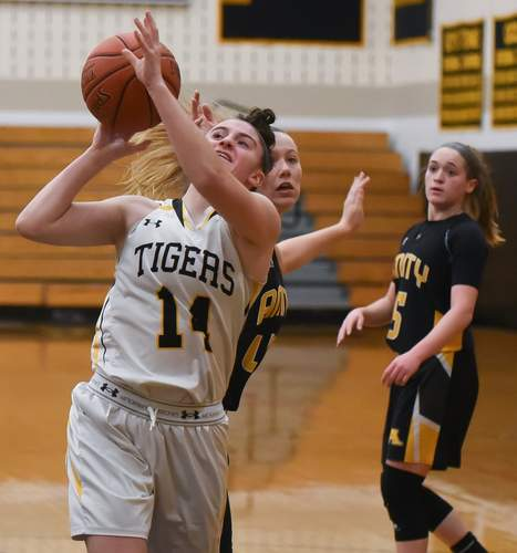 Brooke Salutari is having a nice sophomore season for the Hand girls' basketball team this winter. Photo by Kelley Fryer/The Source