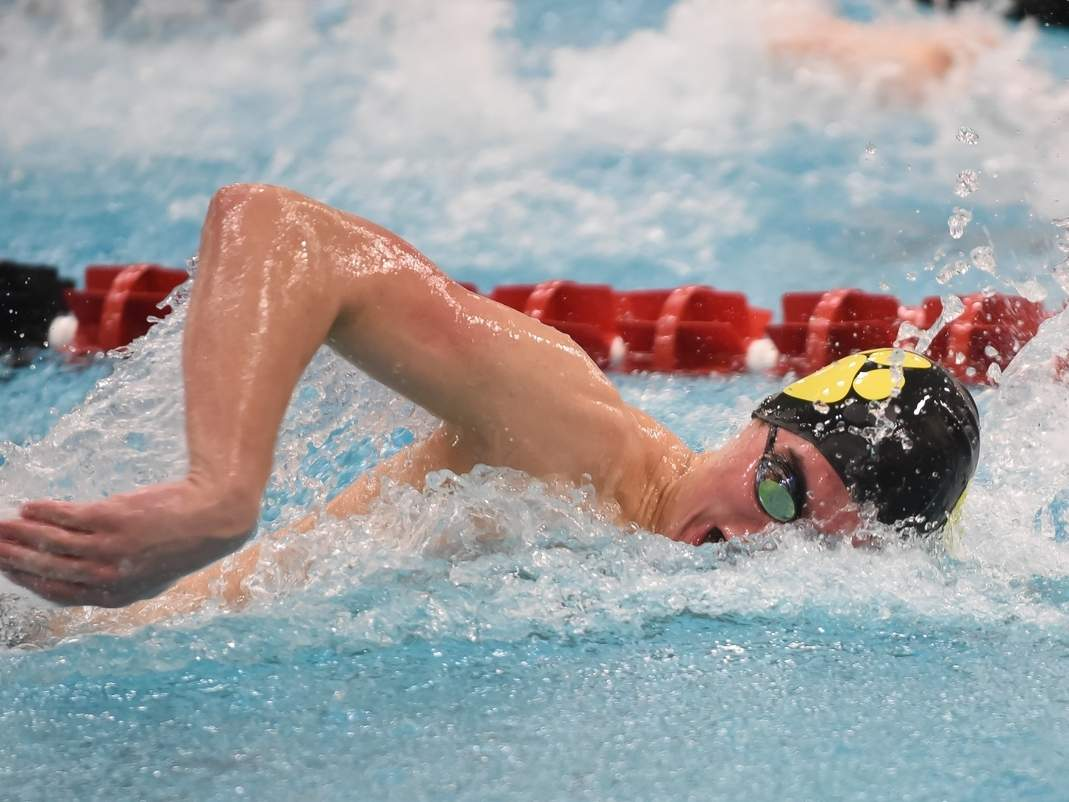 William Porter won the 100 butterfly and also swam on three triumphant relays when the Hand boys' swimming and diving team defeated Sheehan last week. File photo by Kelley Fryer/The Source
