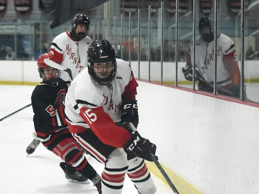 Junior Daniel Farricielli scored a goal to help the Branford boys' ice hockey team earn a 6-1 win over Watertown-Pomperaug last week. The defending champion Hornets qualified for the Division II State Tournament with the victory. Photo by Kelley Fryer/The Sound