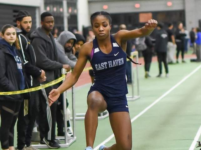Kisha Francois finished in second place in the long jump when the Yellowjackets' girls' indoor track team competed at the SCC Coaches Invitational on Jan. 18. File photo by Kelley Fryer/The Courier