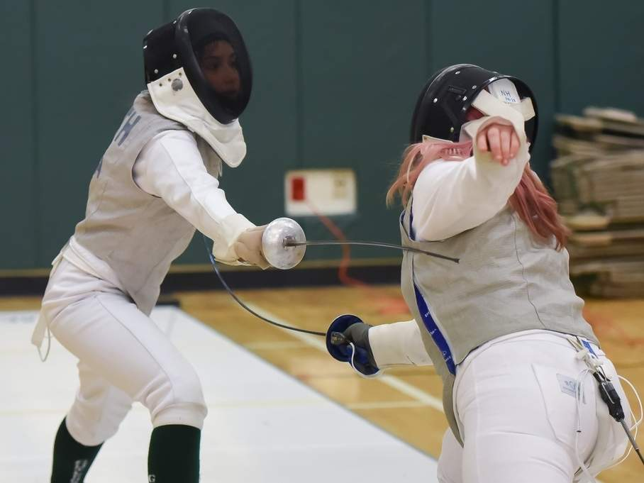 Foil fencer Lindsey Smith and the Guilford girls' fencing team recorded wins against Cheshire and Morgan last week. Smith helped the foil squad claim victory in both contests. File photo by Kelley Fryer/The Courier