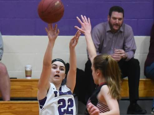 Sophomore Marissa Ricardo hit three shots from downtown to help the North Branford girls' basketball squad notch a 47-34 victory versus Portland last week. Photo by Kelley Fryer/The Sound