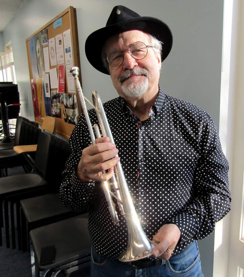 When you've reached the peak of fame as a rock and roll star, what's left? For Blue Öyster Cult co-founder Joe Bouchard, a return to his high school band instrument in a group of beginners and returning musicians is keeping his chops fresh. Photo by Elizabeth Reinhart/The Courier