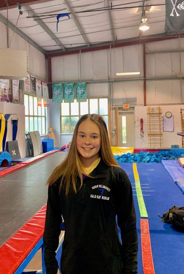 Juliana Gagliardi is the middle of a nice freshman campaign with the Haddam-Killingworth/Morgan/Hale-Ray gymnastics squad. Juliana also trains at and competes for the team at Flip-Flop Gymnastics in Deep River. Photo courtesy of Beth Gagliardi