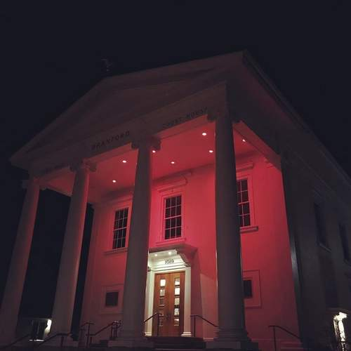 "With many events and displays planned, including lighting up town buildngs in red (shown here, Branford Town Hall), Branford will go all out to ""Go Red for Women"" in February, to support the American Heart Association's efforts to raise awareness and help fund critical research to fight the number one killer of women, cardiovascular disease.   File Photo by Pam Johnson/The Sound"