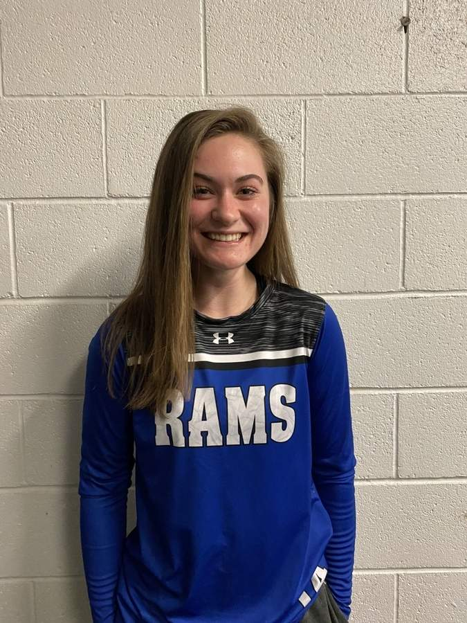 Taylor Cote is leading a young Old Saybrook club as one of the team's senior captains this winter. Taylor also plays softball for the Rams. Photo courtesy of Taylor Cote