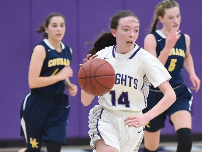 Sophomore Jamie Sacco and the Westbrook girls' basketball team defeated Old Saybrook by a 40-36 final in a home game on Jan. 30. Sacco scored 14 points in the victory and currently leads the Knights in scoring this season. File photo by Kelley Fryer/Harbor News