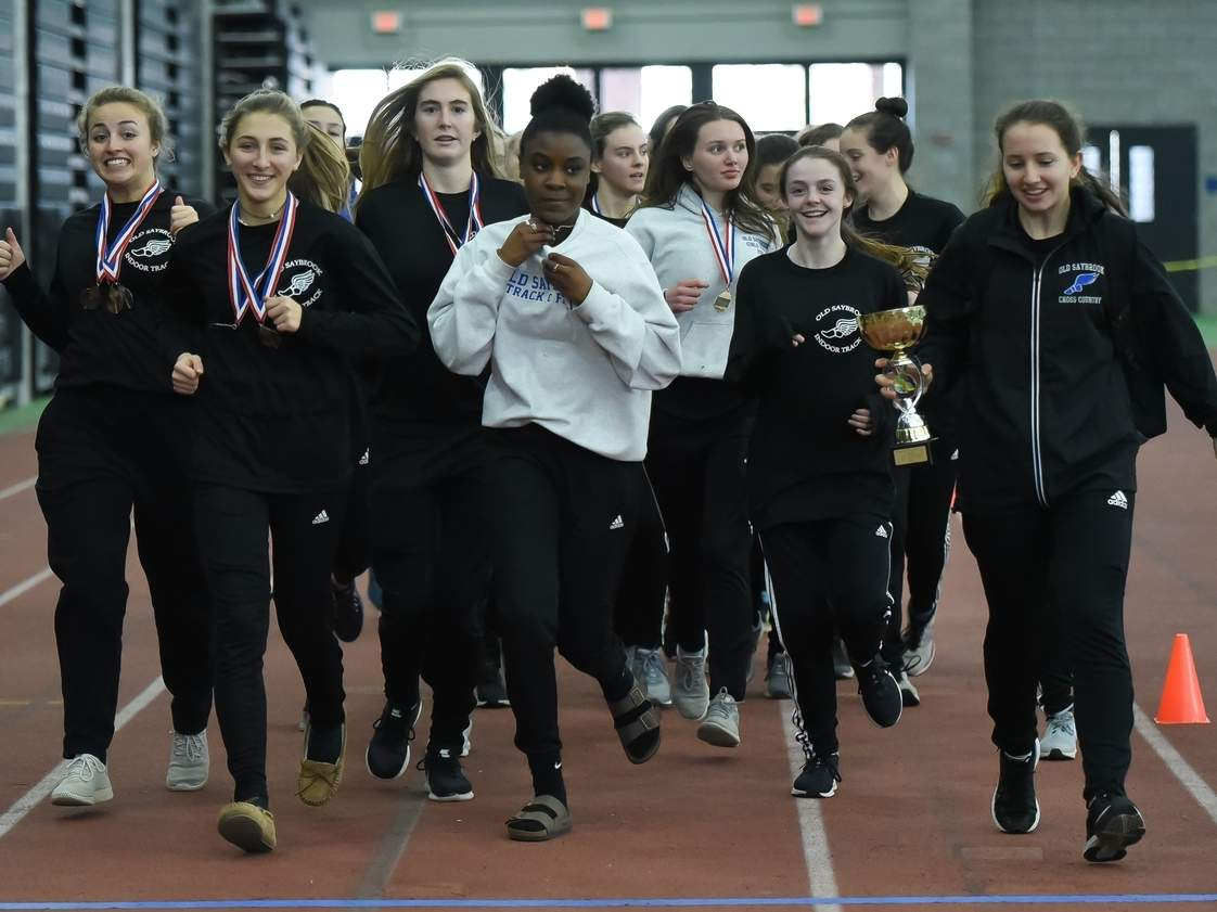 The Old Saybrook girls' indoor track team claimed first place in the Shoreline Conference Championship Meet for the fourth-straight year at Floyd Little Athletic Center on Feb. 8. Photo by Kelley Fryer/Harbor News