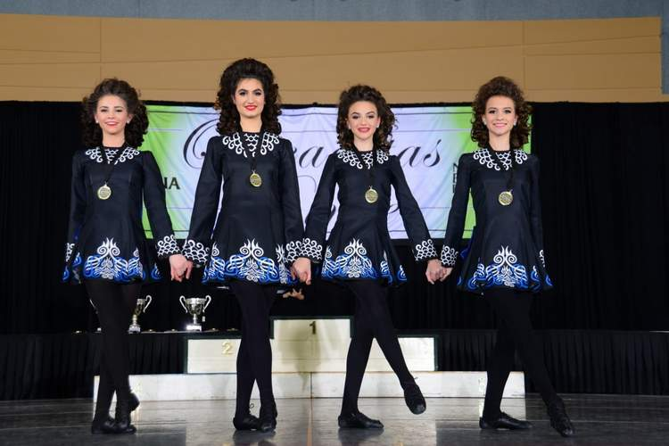The Gray School's girls' U-15 four hand team finished in 15th place at the New England Oireachtas. Pictured are Gillian Milewski (Lyme), Maggie Rommel (Old Lyme), Madelynn Katz (Westbrook), and Anne Colangelo (Old Lyme). Photo courtesy of Tom Gregory/Shamrock Photography