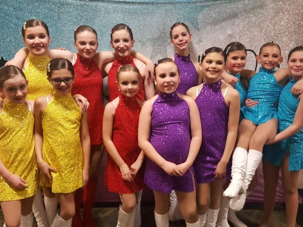 Astra Studio collected three elite gold medals and seven high golds when its dancers performed at the Startbound National Talent Competition. Pictured are (front) Sadie Heiser (Chester), Julia DeSousa (Westbrook), Kora Chapman (Old Saybrook), Molly George (Clinton), and Isadora Souza (Westbrook); (back) Jillian Pernal (Old Saybrook), Emma Golembeski (Gales Ferry), Vivi Heiser (Chester), Emerson Alexy (Old Saybrook), Emma Elgart (Old Saybrook), Elleyana Barbieri (Old Saybrook), and Teagan Iglesias (Old Saybrook). Photo courtesy of Astra Studio of Dance and Performing Arts