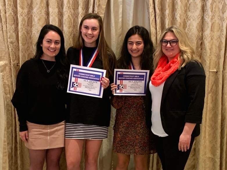 Seniors Sam Calamari and Ava Duval received CIAC All-State accolades on behalf of Valley Regional girls' soccer. Pictured at the All-State dinner are Valley Head Coach Lauren MacDonald, Duval, Calamari, and Valley Assistant Coach Meghan Perkins. Photo courtesy of Brian Duval