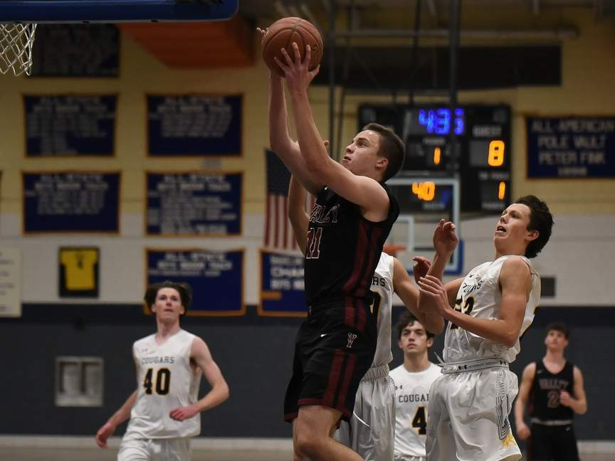 Senior captain Chris Sparaco and the Valley Regional boys' basketball team extended their win streak to 15-straight games with a 59-34 home win over Shoreline Conference rival Morgan on Feb. 18. File photo by Kelley Fryer/The Courier