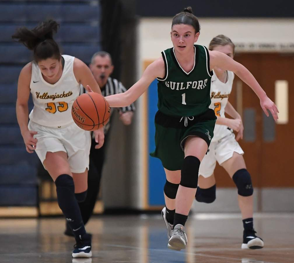 Guilford girls basketball lost to East Haven 29-39 in the first round of the SCC Tournament. Moira Kellaher  (1) Photo by Kelley Fryer/The Courier
