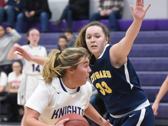 Senior Callie Newburg and the Westbrook girls' basketball team picked up a 55-37 comeback win over Wolcott Tech in the first round of the Class S State Tournament on March 3. File photo by Kelley Fryer/Harbor News