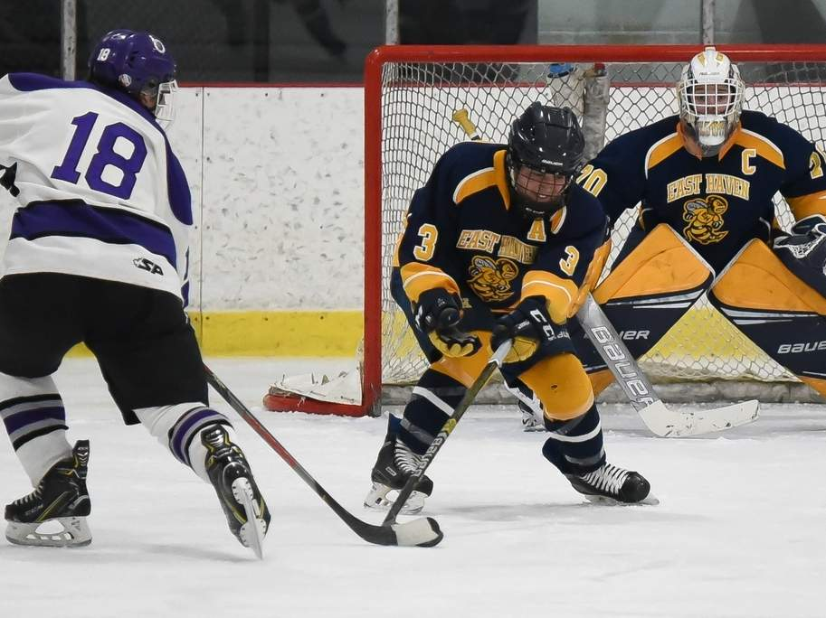 Junior defenseman Rocco Plano and senior goalie Logan Hamilton helped the Yellowjackets' ice hockey squad qualify for states for the 34th-straight campaign this winter. File photo by Kelley Fryer/The Courier