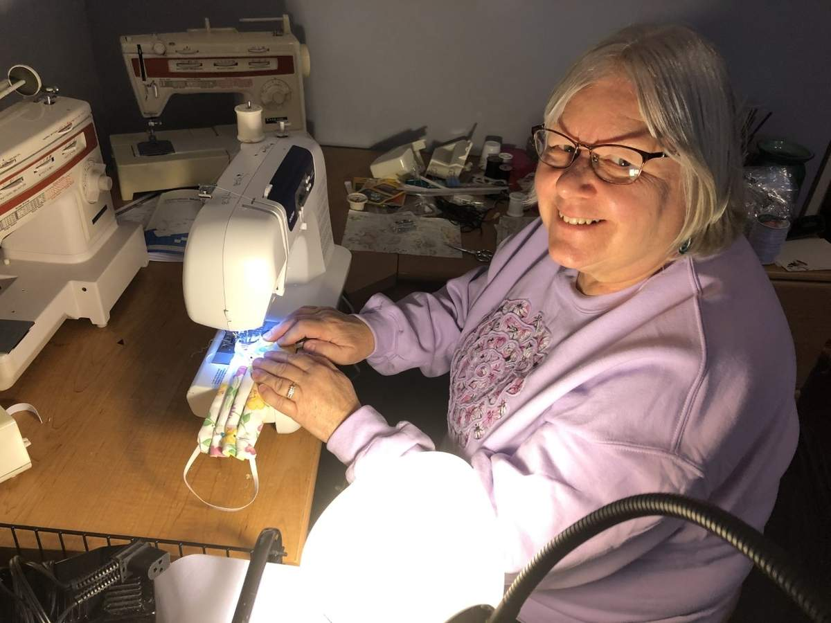 In North Branford, Northford resident Debbie DeLillo is now a leader of a mask-making village of sewers, pattern cutters, and others helping her to donate hundreds of the protective face coverings to those who need them most. Photo courtesy of Debbie DeLillo