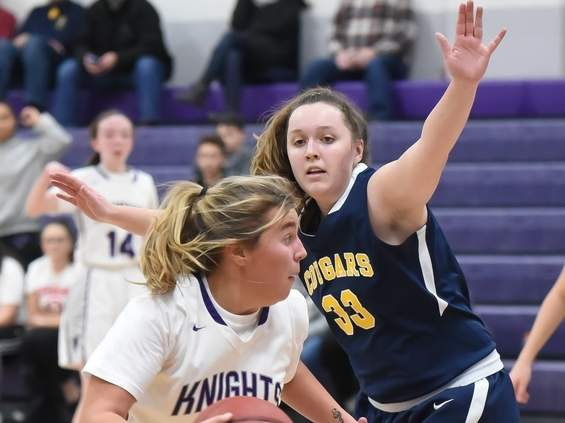 Senior captain Callie Newberg and the Westbrook girls' basketball squad turned in a solid campaign in 2019-'20 that featured a win in the Class S State Tournament. Newberg played valuable minutes as a presence in the paint. Photo by Kelley Fryer/Harbor News