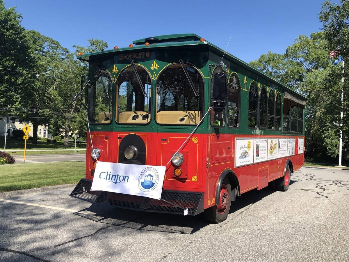 This trolley had a successful debut in Clinton last summer. Plans to have it return in summer 2020 are on hold. File photo by Eric O'Connell/Harbor News