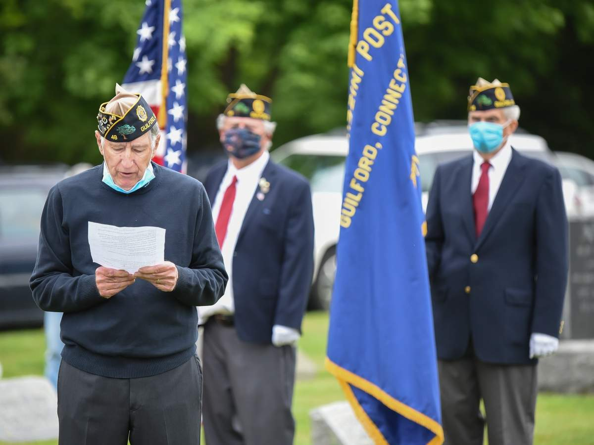 The Guilford VFW Post 7666 lead by Commander Larry Santamaria and Guilford  American Legion Post 48 lead by Commander Ron DeMartino   held  a small Memorial Day ceremony at Alder Brook Cemetery on Monday morning. American Legion Post 48 l  Commander Ron DeMartino added his reflections, Tim Flood and Bruce Pentland Post 48 Color Guard Photo by Kelley Fryer/The Courier