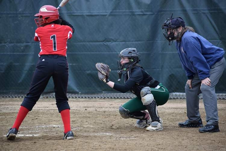 Senior Eva Ott Hill (right) was going to make a big transition to the catcher's position this year after mostly patrolling the outfield for the Indians the past few seasons. File photo courtesy of Kate Ott