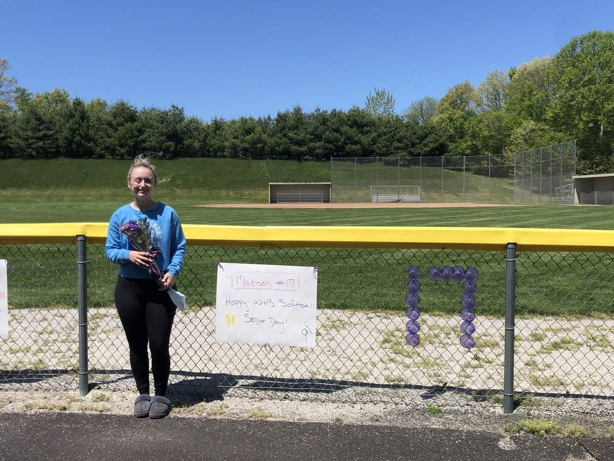 Senior catcher Madison Marshall and the Westbrook softball team had plans on reaching the postseason in 2020. Marshall was one of the Knights' major contributors at the plate, as well as a defensive whiz behind it. Photo courtesy of Caitlin Eichler