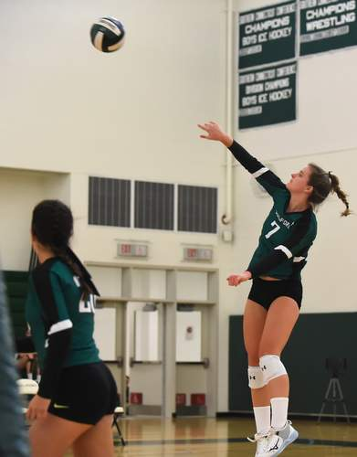 Emma Appleman and the Guilford volleyball squad are hosting crosstown rival Daniel Hand for their 2020 season opener. File photo by Kelley Fryer/The Courier