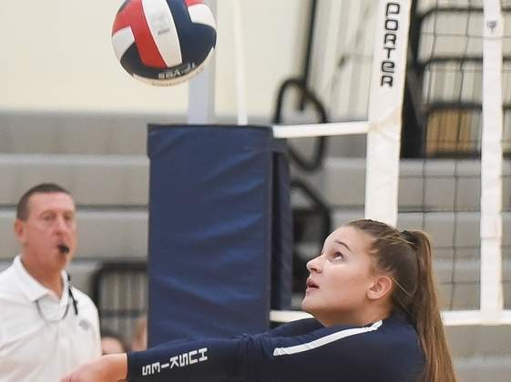 Kristina Seeger and the Morgan volleyball squad are on the road to play Haddam-Killingworth in their first contest of the fall campaign. File photo by Kelley Fryer/Harbor News