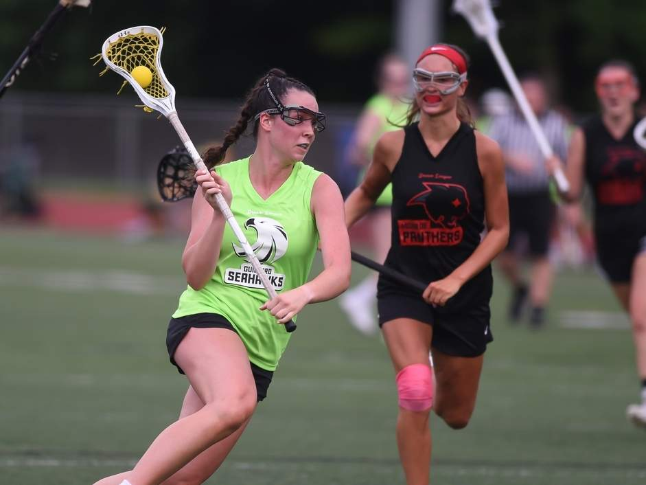 Hannah Tillier and the Guilford Seahawks girls' lacrosse squad opened play in the Dream League by notching convincing victories against Monroe and Stratford. Photo by Kelley Fryer/The Courier