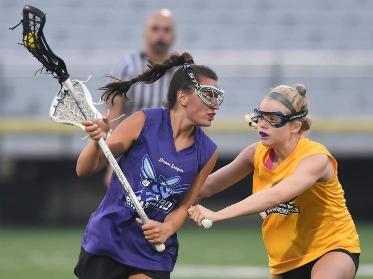 Karly King and the Branford Sting girls' lacrosse team split a pair of matchups during the first week of play in the Dream League. Photo by Kelley Fryer/The Sound