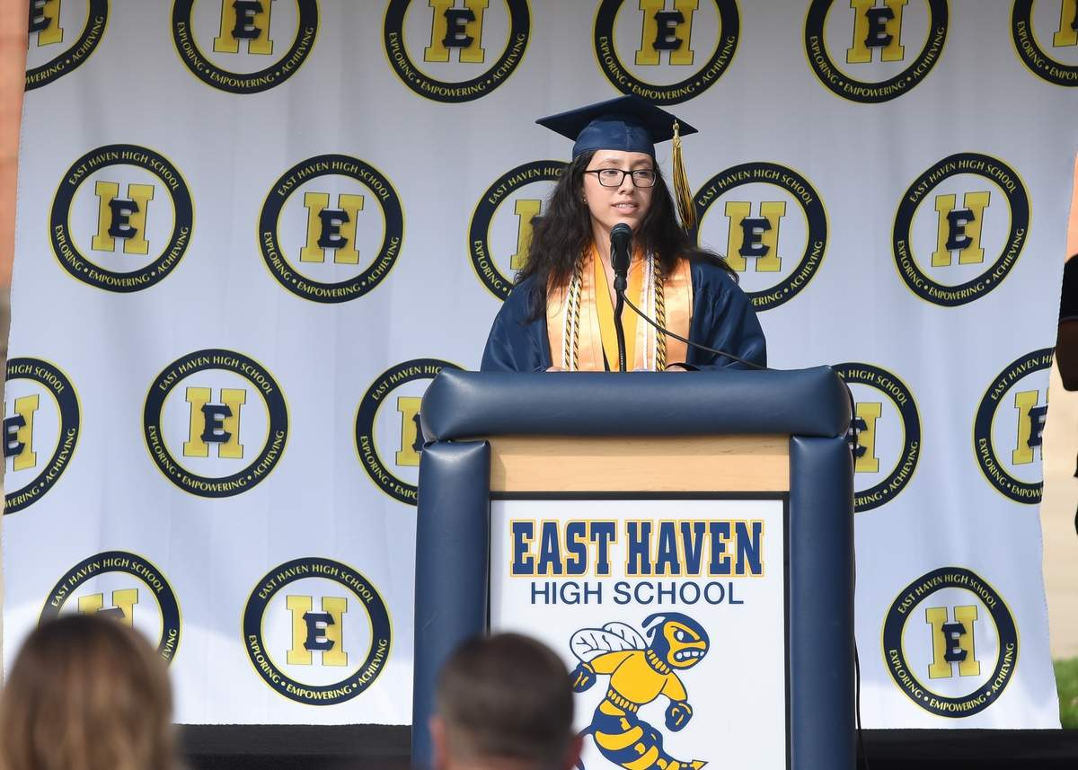 The East Haven High School Class of 2020 held a drive - through style graduation that was live streamed at the East Haven High School on Saturday July 11th. Amy Catherine Nieto gave the Valedictorian Address.  Photo by Kelley Fryer/The Courier