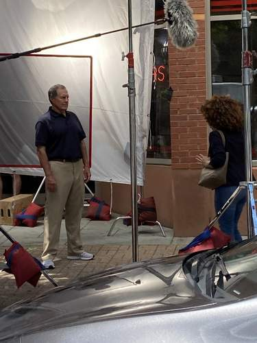 Bill Belichick is shown during early afternoon shooting for a national Subway commercial outside Branford's former Denali store at 1004 Main St. on July 14.  Photo for Zip06/The Sound by Alison Johnson