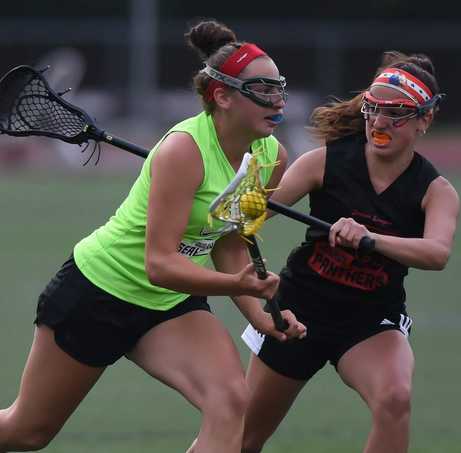The Guilford Seahawks beat the Monroe Panthers 17-10  in the Dream League Girls Lacrosse opener at Guilford High School on Monday night. Maddie Epke(1) Photo by Kelley Fryer/The Courier