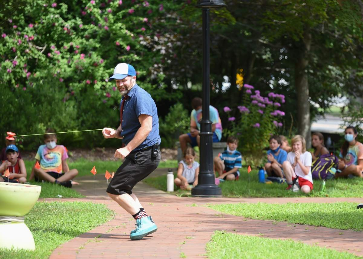 The Yo-Yo Guy! (John Higby) came to the Deep River Public Library and put on a high energy comedy show for campers and families on the libraryþÄôs front lawn.   Photo by Kelley Fryer/The Courier